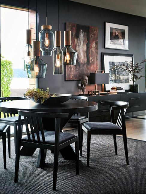 deep colors black furniture