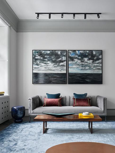 abstract art living room sofa