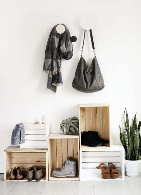 entryway ideas wood boxes organizing small spaces