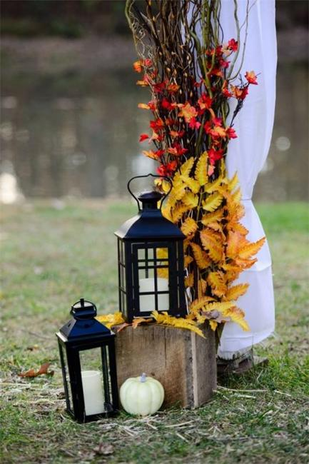 yard decorating fall leaves candles