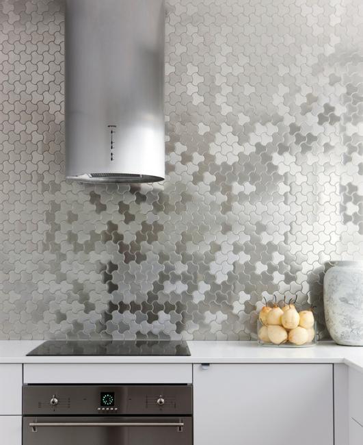 metal riles kitchen wall