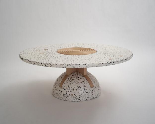 round table concrete wood
