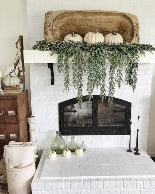 white pumpkins green garland