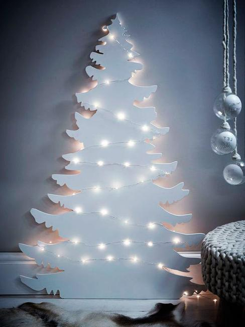 white cristmas tree wood lights