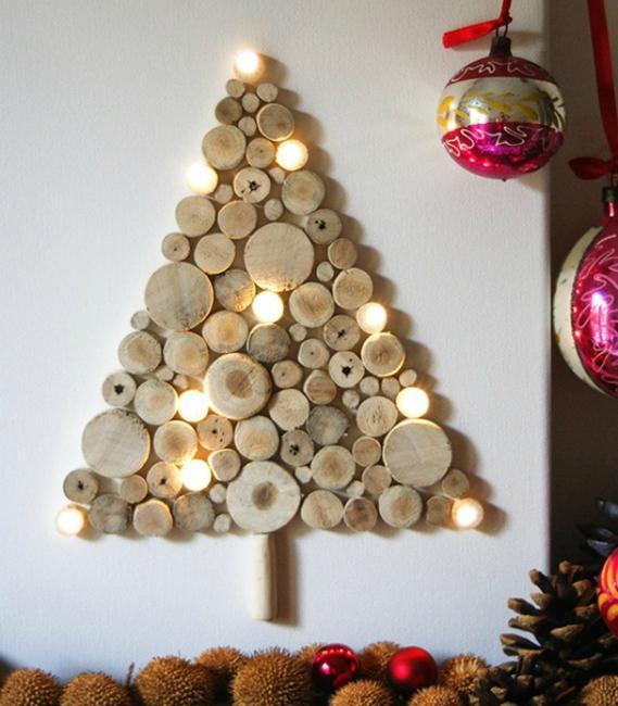 wood slices holiday tree