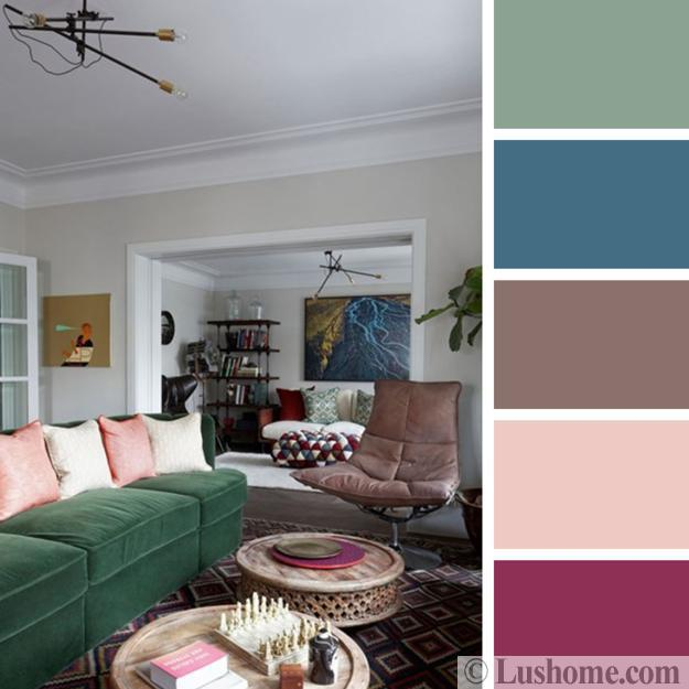 green sofa pink pillows