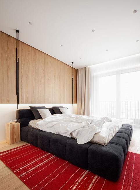 contemporary bedroom design red carpet
