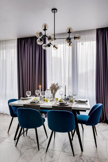 blue chairs dining furniture