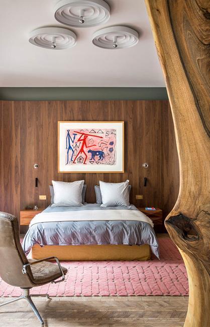 pink art wooden walls