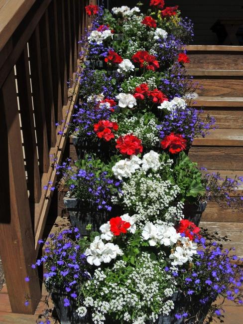 potted flowers staircase decorating