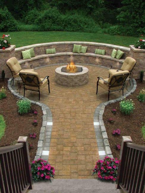 stone patio design round