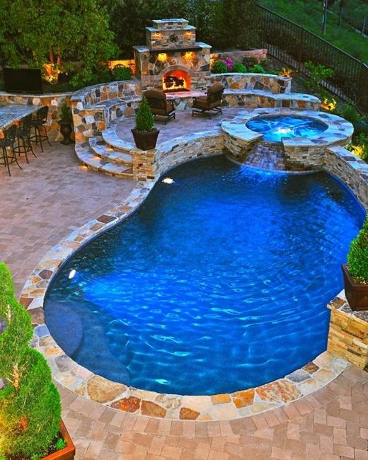 outdoor water features swimming pool