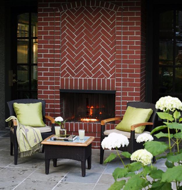brick fireplace outdoor