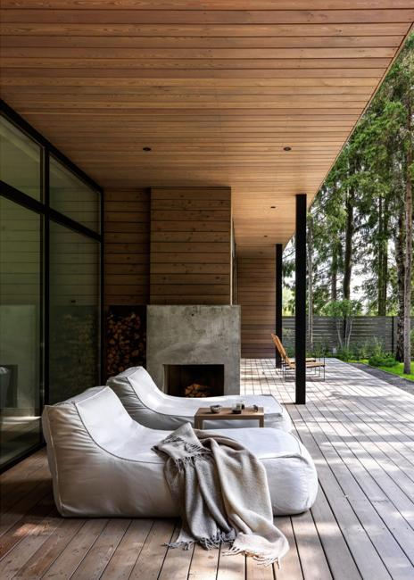 outdoor seating area contemporary fireplace