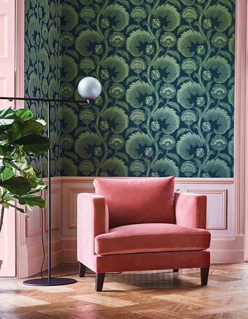 green pink room design
