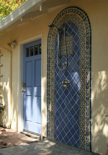 blue door painting idea