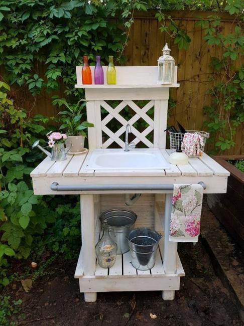 white wood bench garden sink