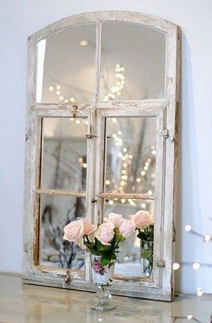 DIY wall mirror pink flowers
