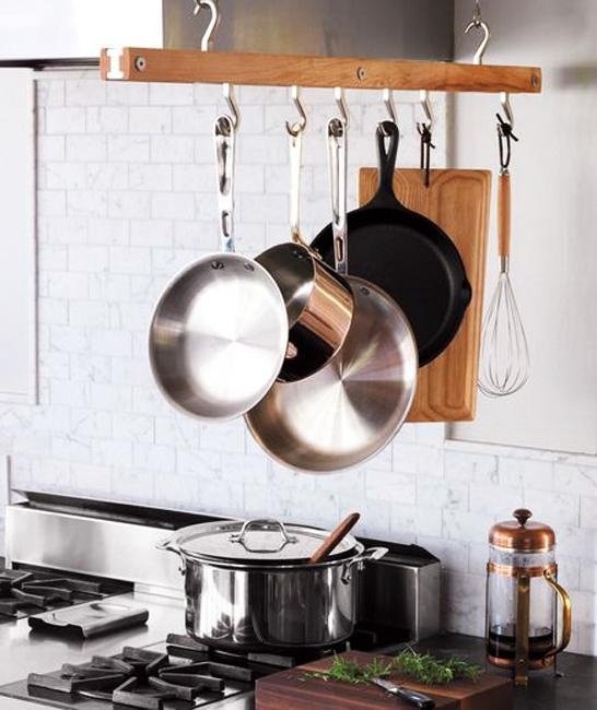 kitchen storage ideas stainless steel pots pans