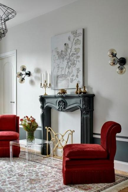 red chairs living room furniture