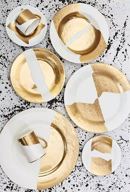 two tone golden white dishes