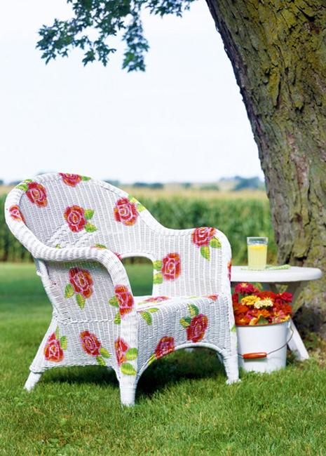 summer flowers white chair