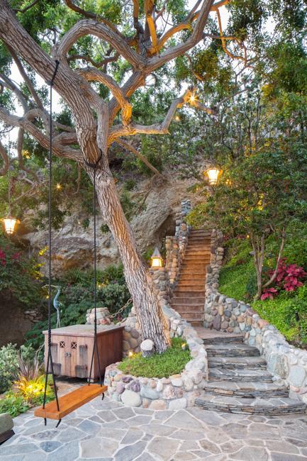 beautiful yard landscaping stone stairs swing