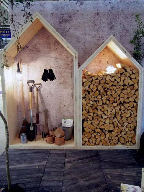 outdoor home decorating firewood storage ideas