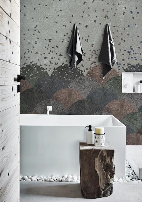 mosaic tiles bathroom wall design