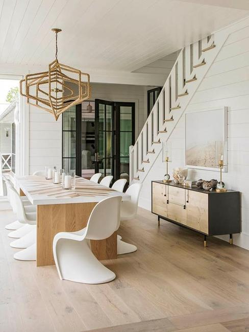 wood table plastic chairs modern dining furniture